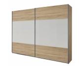 Schwebetürenschrank Quadra I - Eiche Sonoma Dekor / Alpinweiß - 136 cm (2-türig) - 210 cm, Rauch