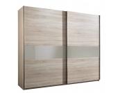 Schwebetürenschrank Aenon C - Eiche Sägerau Dekor/Glas Sahara Grau - Schrankbreite: 250 cm - 2-türig, fresh to go