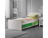 Einzelbett in Weiß-Grün Stauraum