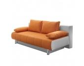 Schlafsofa Juva - Kunstleder Weiß/Microfaser Orange, Home Design