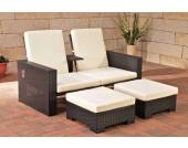 2er-Sofa RAVENNA aus Polyrattan mit Fußhockern, inkl. Kissen & Polstern (aus bis zu 2 Rattanfarben wählen)