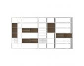 XXL Regalwand Emporior I.A - Ohne Beleuchtung - Hochglanz Weiß / Eiche Sonoma Dekor, loftscape