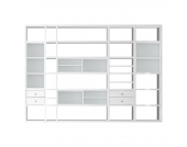 XXL Regalwand Emporior III - Ohne Beleuchtung - Hochglanz Weiß / Weiß, loftscape