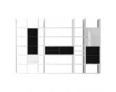 XXL Regalwand Emporior V.A - Ohne Beleuchtung - Hochglanz Weiß / Schwarz, loftscape