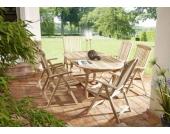 Cats Collection 7 teiliges Teak Gartenmöbel Set mit ovalem Auszugstisch und sechs Gartenstühlen
