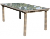 Polyrattan Tisch Colorado, beige, ca. 170 x 95 x 73 cm, Gartentisch