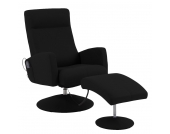 Massagesessel Franklin (mit Hocker) - Lederlook Schwarz, Nuovoform