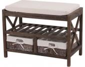 heute-wohnen Schuhregal Sitzbank 45x65x34cm, Shabby-Look, Vintage