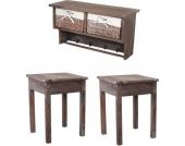 heute-wohnen Garderobe Wandregal mit 2 Körben + 2x Beistelltisch, Shabby-Look, Vintage