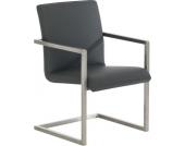 eleganter Design Besucher-Stuhl JAVA, mit Armlehne, Edelstahlgestell, bequemer Sitzfläche (aus bis zu 8 Farben wählen)