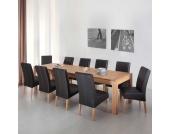 XL Tischgruppe mit Kernbuche Massivholztisch 10 Polsterstühle (11-teilig)
