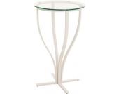 weißer Metall Stehtisch ROSARIO mit Glasplatte, sehr standfest, Durchmesser Ø 60 cm, Höhe 109 cm, ideal für die Gastronomie