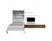 Schrankbett-Kombination Majano - 160 x 205 cm - Kaltschaummatratze - Weiß / Nussbaum Dekor, Modoform