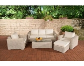 Polyrattan Gartengarnitur MADEIRA 3-1-1 perlweiß, 3er Sofa & 2 Sessel inkl. Sitz- und Rückenpolster, Hocker, Tisch, FARBWAHL