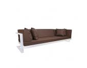 Lounge Sofa in Weiß Braun Wetterfest (6-teilig)