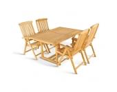 Garten Sitzgruppe aus Teak Massivholz mit Klappstühlen (5-teilig)