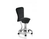 Bürostuhl / Rollhocker SWOPPER WORK Standard (Softex) schwarz / titan mit Lehne u. SPEED-Rollen