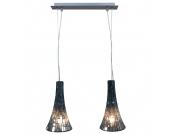Glaspendelleuchte - Metall - schwarz, Lux
