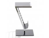 Beistelltisch Anka - Verchromter Vierkantstahl/Glas Schwarz lackiert, Home Design