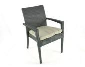 Stuhl Monteria aus Polyrattan inkl. Polster, schwarz
