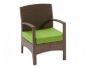 Sessel inkl. Polster Cuba aus Polyrattan, braun