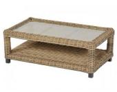 Tisch mit Glasplatte Accra aus Polyrattan, naturbraun