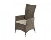 Stuhl Venedig aus Polyrattan inkl. Polster, grau