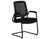 Konferenzstuhl / Freischwinger / Stuhl LAGO (2erPack/2 Stühle) Netzstoff schwarz hjh OFFICE