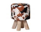 IOVIVO Polsterhocker Cow mit Holzfüßen
