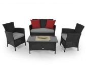 Lounge Sitzgruppe Garnitur aus Polyrattan schwarz 4-teilig