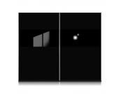 Schwebetürenschrank Style - Schwarz/Glas Schwarz - Schrankbreite: 202 cm, Arte M